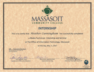 Massasoit IT/Media Internship Certificate