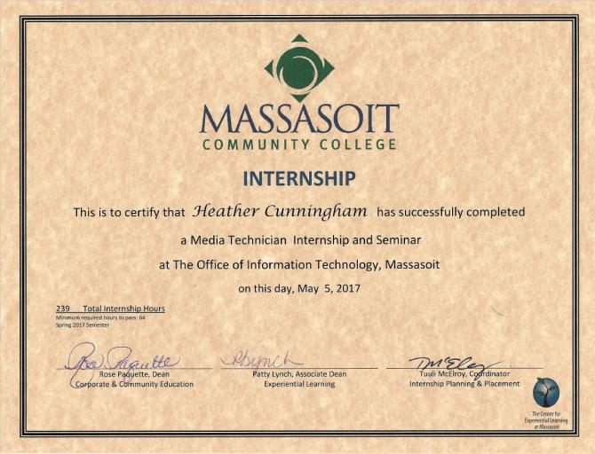 Massasoit IT/Media Internship Certificate